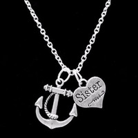 Anchor Sister Gift For Sisters Charm Nautical Necklace