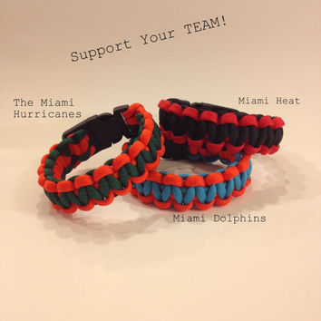 550 Paracord Bracelet: Custom Team Colors Miami Heat, The Miami Hurricanes & The Dolphins