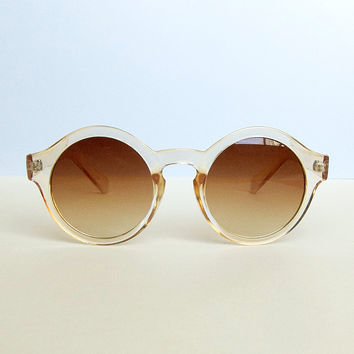 Sheer Peach Frame Round Sunglasses