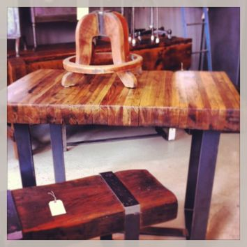 Salvaged Butcher Block Counter High Table