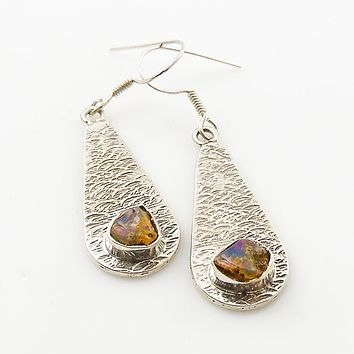 Ethiopian Opal Rough Textured Sterling Silver Earrings