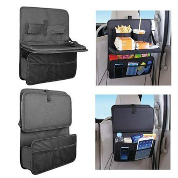 CREYON High Quality Auto Back Car Seat Organizer With Food Tray Table Durable Oxford Fabric Multi-function Foldable Travel Storage Bag