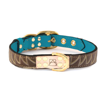 Turquoise Dog Collar with Brown Leather + Yellow/Ivory Stitching