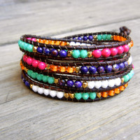 Beaded Leather Wrap Bracelet 4 or 5 Wrap with Colorful Gemstones Czech Glass Beads and Gold Nuggets on Natural Brown Leather Turquoise Pink