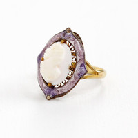 Antique Art Deco 10k Gold Wash Cameo & Guilloche Enamel Ring - Rare Early 1900s Filigree Size 5.5 Jewelry