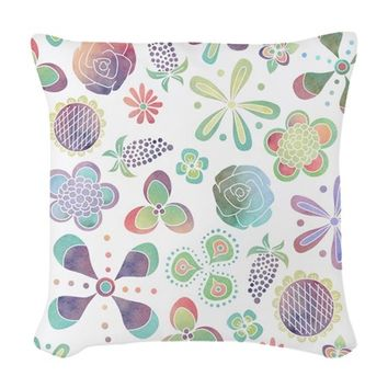 Boho Watercolor Floral Woven Throw Pillow