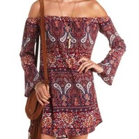Floral & Paisley Off-the-Shoulder Shift Dress - Burgundy Cmb