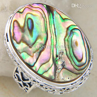 New Arrival Nation Rings Fashion Unisex Jewelry Natural Stone Abalone Shell 925 Vintage Ring CR0036