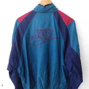 HOT SALE Vintage 90's NIKE Gray Tag Swoosh Big Logo Air Jordan Windbreaker Sweater Zip