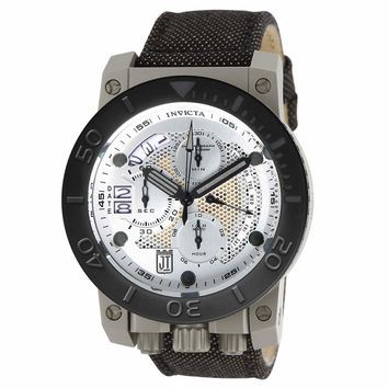 Invicta 13052 Men's Jason Taylor Corduba Black Bezel Silver Dial Chronograph Dive Watch