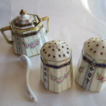 Nippon Salt and Pepper & Sugar with China Spoon- Gorgeous Set!  Classic! Original Markings.