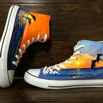 DCCK1IN wen original design dolphin sunrise sunset converse hand painted shoes custom conver