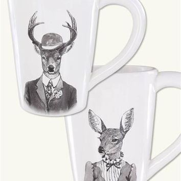 Beau Menagerie Mugs (Pair) - Animal People Mugs