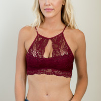 Cover Me In Roses Bralette - Burgundy