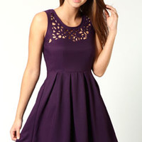 Esther Laser Cut Detail Fit + Flare Dress
