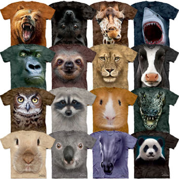 Big Animal Face T-Shirt Grizzly Bat Giraffe Shark Owl Cow Head Official Mountain