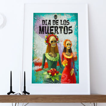 Dia De Los Muertos Mexican Retro Catrina Illustration Art Print Vintage Giclee on Cotton Canvas and Paper Canvas Poster Wall Decor