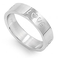 "STR-0107 6mm Stainless Steel ""Love"" Engraved Ring (6)"