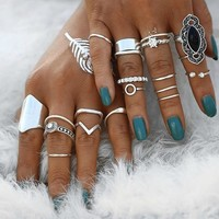 19 PC Midi Madness Silver Boho Ring Set