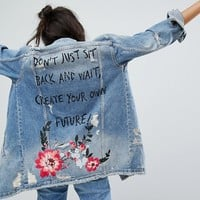 Bershka Create Your Own Future Longline Denim Jacket at asos.com