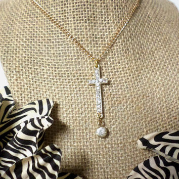 Long Gold Rhinestone Cross Crystal Drop Pendant Necklace, gift