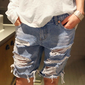 2015 Summer New Womens Loose Denim Shorts Beggar Hole Ripped Jeans Shorts Ladies Short Jeans For Women Shorts Plus Size S-XXXL