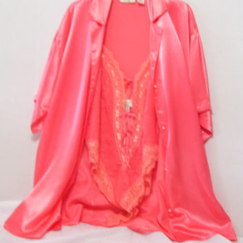 SALE + Free Ship Peignoir Set Victoria Secret Boyfriend Shirt Designed Short Robe Matching French Lace Teddy / Gown Coral Orange Tangerine
