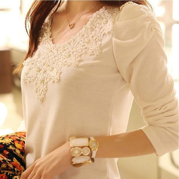 2015 brand spring new women's casual shirt lace tops cute elegant long sleeves slim blouses plus size XXL = 1753266564