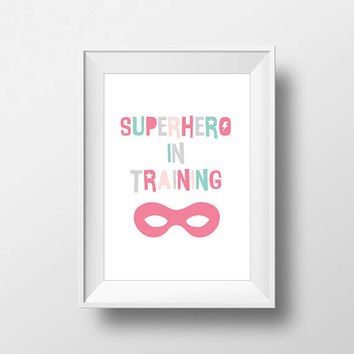 SuperHero Modern Stylish print, Nursery Art, Kids Room Decor, Poster, Digital, Instant Download, Typography, Minimalist, Marvel, Comic, Pink