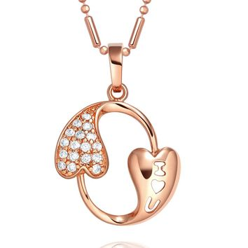 Eternity Circle I Love You Heart Powers Magical Amulet Gold-Tone Sparkling Crystals Necklace