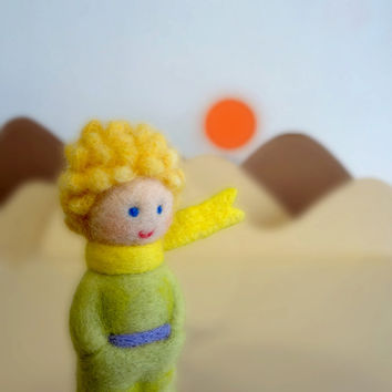 Needle Felted Sculptures - The Little Prince - Kokeshi style doll - Miniature Wool dolls
