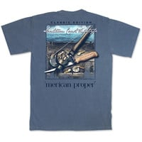 Merican Proper Southern Coast Lifestyle Fishing Bait Pigment Dyed T-Shirt