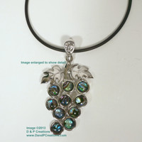 Silver Tone Abalone Paua Shell Bunch of Grapes Pendant Necklace Cord
