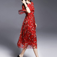 Red Floral Print Tea-Length Chiffon Dress