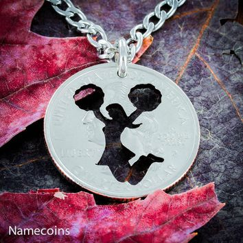 Cheerleading girl necklace, Cheer quarter jewelry, Hand Cut Coin by NameCoins