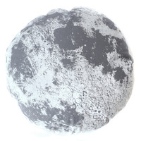 Grey Moon Pillow, 22 inch round gray luna, hand printed and sewn, washable and removable cover, perfect for kids and adults, handmade