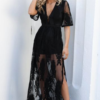Call For Love Black Lace Maxi Romper