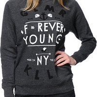 Glamour Kills Forever Young Charcoal Crew Neck Sweatshirt