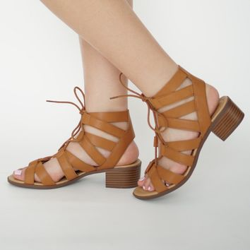 Lace Up Low Heel Sandal