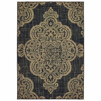 Marina Black Tan Oriental Medallion Casual Rug