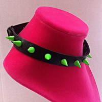 Green Spiked Vegan Leather Punk Goth Choker Necklace