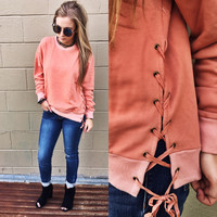 The Blush Lace Up Sweater