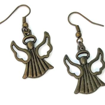 "Guardian Angel 2"" Devotional Style Double Sided Artisan Crafted Bronze  Earrings"