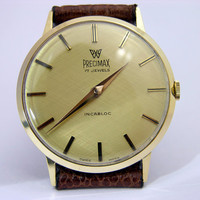 Mint Vintage 60s Precimax Solid 14K Solid Gold Case Swiss Mens Watch Peseux 320