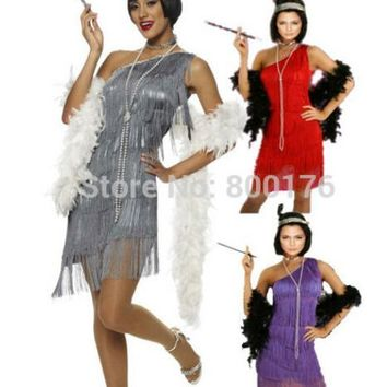 FREE SHIPPING halloween costumes for women  459 G58 1920s Roaring 20s Black Red Flapper Costume Charleston Dress with boat