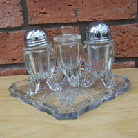 Antique Chippendale Salt and Pepper Shakers, Mustard Pot and Tray, Vintage early 1900s, Rare item