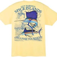 Guy Harvey Spice Islands Billfish Tourney Men's Back-Print Tee w/Pocket in White, Yellow or Aqua Blue