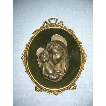 Religious Inspire Italy Mary And Child Bronze Portrait Icon
