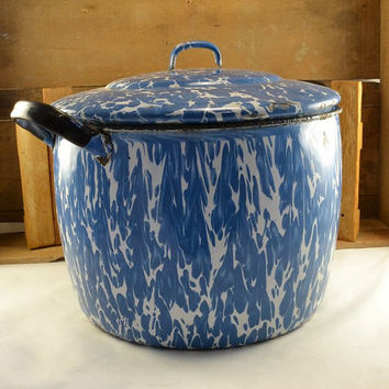 Vintage Blue Graniteware Stock Canning or Soup Pot - Enamelware Blue Marbled - Large w/ Lid  Antique Primitive Farmhouse Kitchen