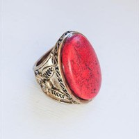 Red veined stone cabochon ring  from Mangosteen